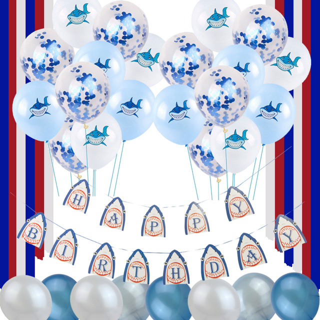 Shark Party Decoration Set Theme Happy Birthday Banner Latex Balloons Crepe Streamers Baby Boy 1st