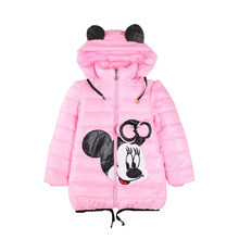 2018 New Children Winter Mickey minine Regular Plus Velvet Thick Coat Children's Down Jacket Thin Hooded Kids Girls Down Jacket(China)
