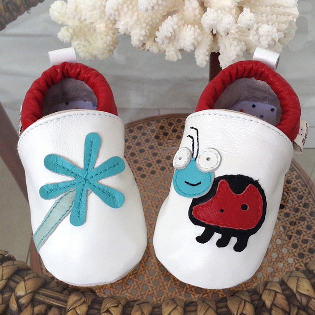 Spring Autumn Genuine Leather Fashion Cartoon Animal Printing Design Mixed Color Anti-slip Breathable Sewing Infant First Walker