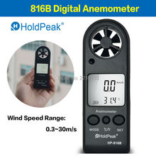 HoldPeak handheld Mini Anemometer with Wind Speed Range 0.3 -30m/s and Temperature Measurement 816B