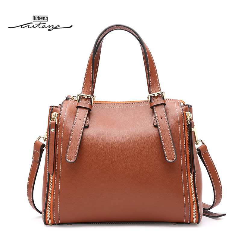 TU-TENG 2018 Fashion Women Totes Handbag Female Genuine Leather Bags Handbags Ladies Portable Shoulder Crossbody Bag Tote G79390