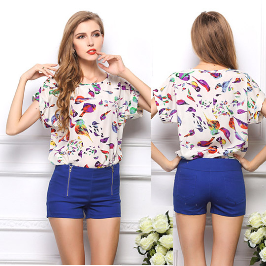 New 2014 Spring Summer Casual Women Chiffon Blouses Shirts Plus Size High Street Fashion Tops Camisas Roupas  Blusas Femininas blouse