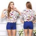 Primavera Verão 2015 nova Casual Mulheres Chiffon Blusas Camisa Plus Size High Street Moda Tops Camisas Roupas Femininas Blusas