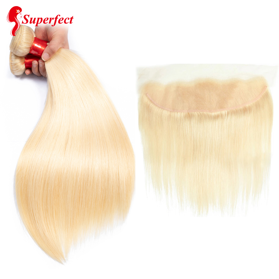 Superfect Blonde Bundles With Frontal Closure Straight Peruvian Human Hair Bundles With Closure 613 Bundles With