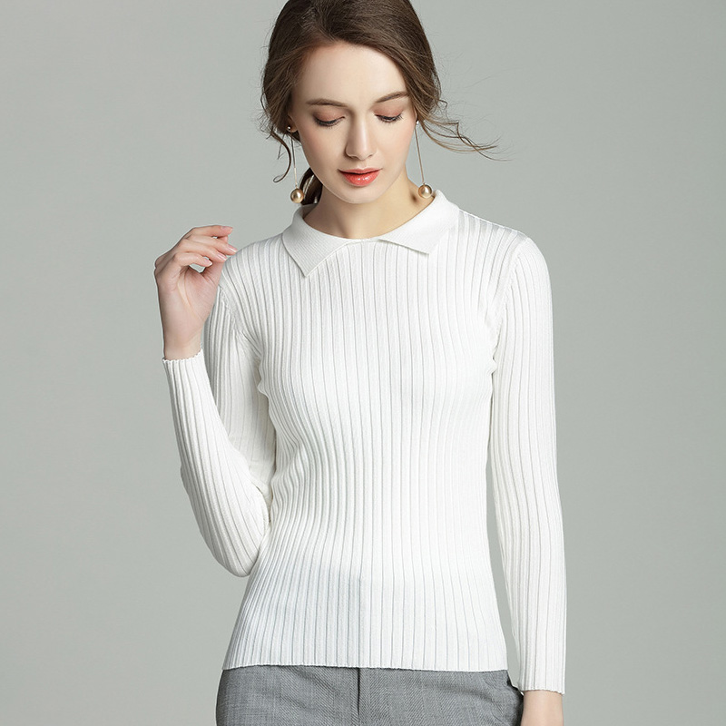 Autumn Winter Womens Ribbed Sweater 2018 Women White Sweater Women's Pullover Basic Rib Knitted Elasticity Casual Jumper Female