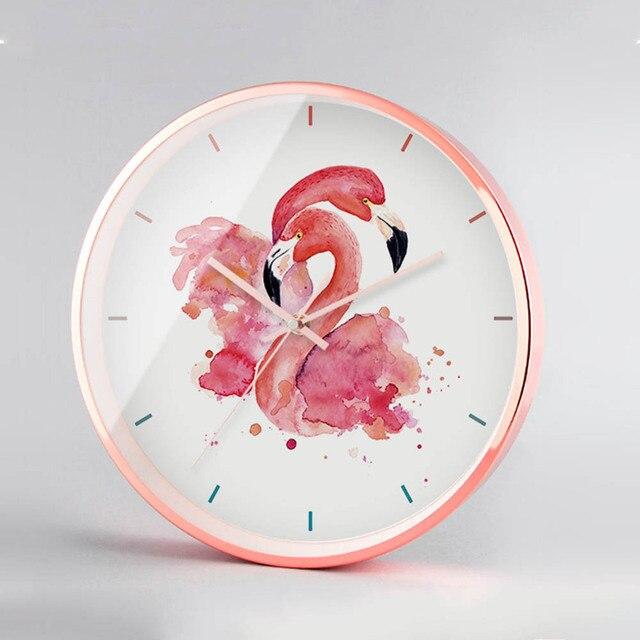 Flamingo Round Wall Clock Vogue Rose Gold Metal Wall Clock Creative ...