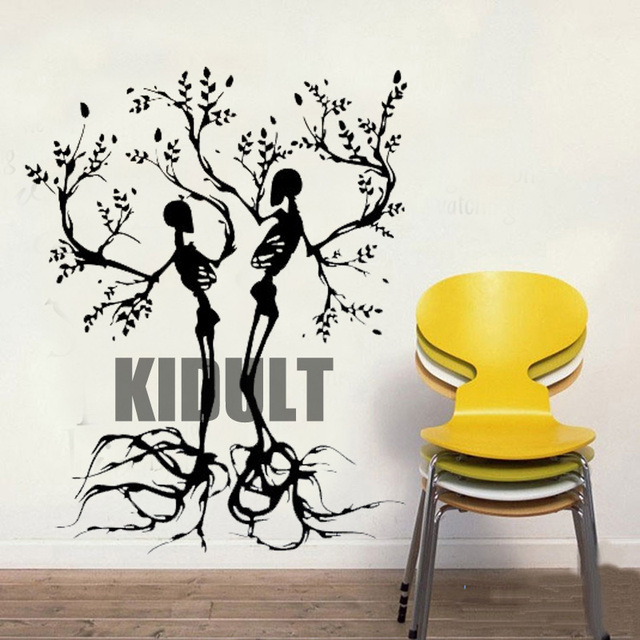 Wall Decals Halloween Skeleton Couple Branches Wall Stickers Room Bedroom  Interiors Bar Nightclub Vinyl Wallpaper Wall