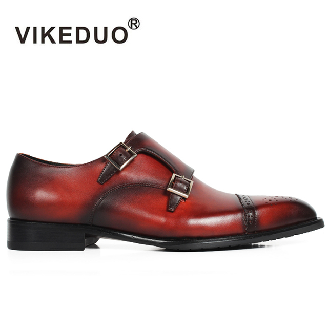 8435a66f8c Vikeduo Rushed Retro Custom Handmade Genuine Leather Luxury Wedding Party Dress  Shoes Original Design Men Brogue Flat Monk Shoes