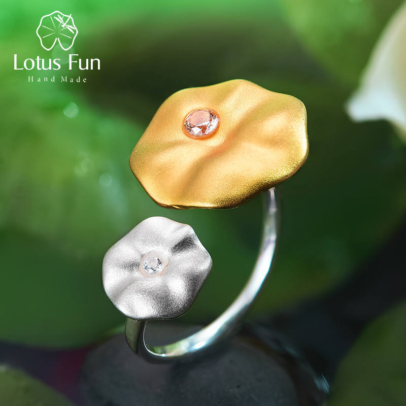 Lotus Fun Real 925 Sterling Silver Natural Gemstone Handmade Designer Fine Jewelry Morning Dew on Lotus Leaves Rings for Women
