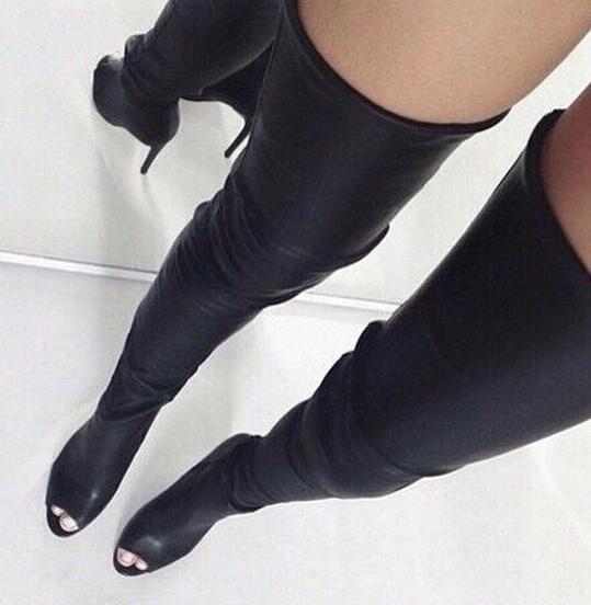 Sexy Open Toe Women Over The Knee Boots Black Leather Zipper Back Ladies High Heel Boots Female Fashion Dress Boots Spring Boots