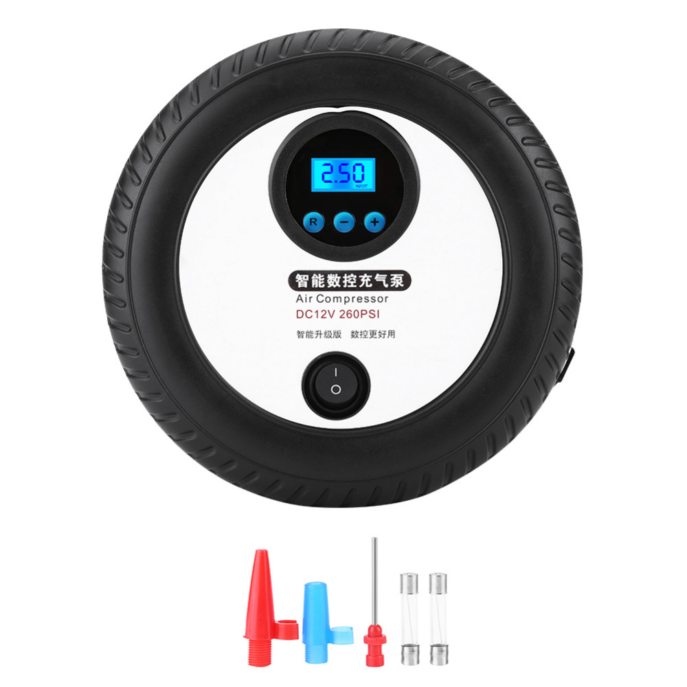 DC12V Digital Portable Car Tire Inflator Pump Air Compressor 260PSI With Inflation Nozzle Adapters for Car Ball Bike Air Boat