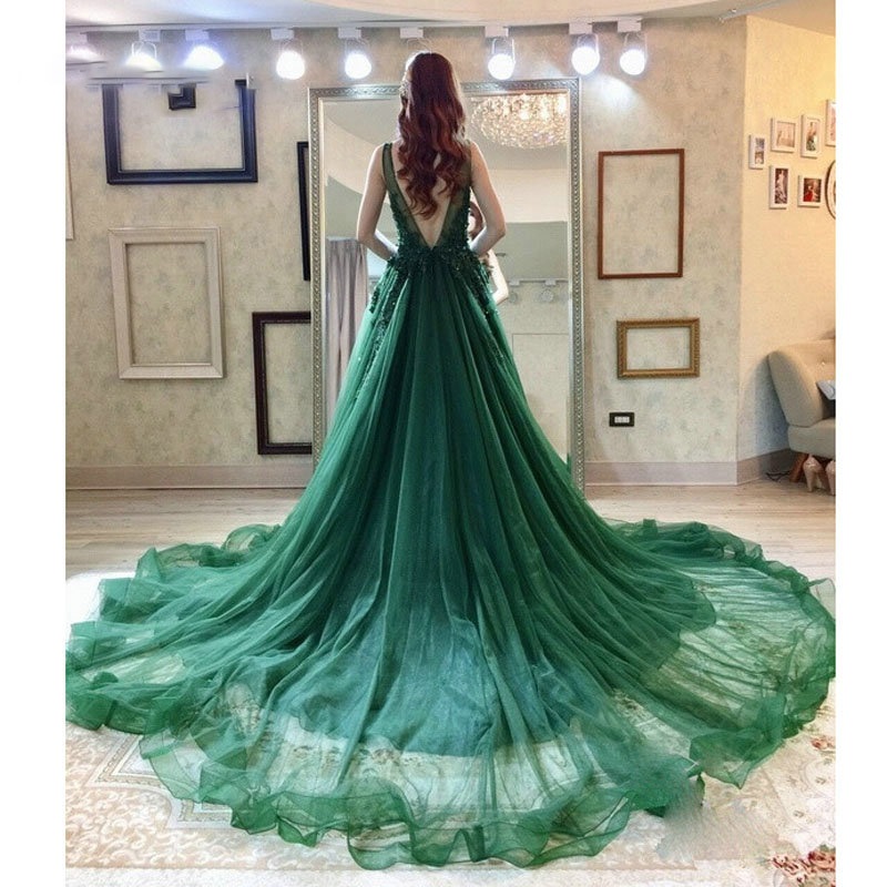 Verngo Sexy Green V-neck   Evening     Dress   Appliques and Beading A-line Long party   Dress   Robe de soiree formal   dress   Custom made