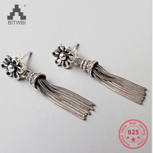 925 Sterling Silver Flower Long Tassel Earrings For Women Thai Elegant Lady Sterling-silver-jewelry