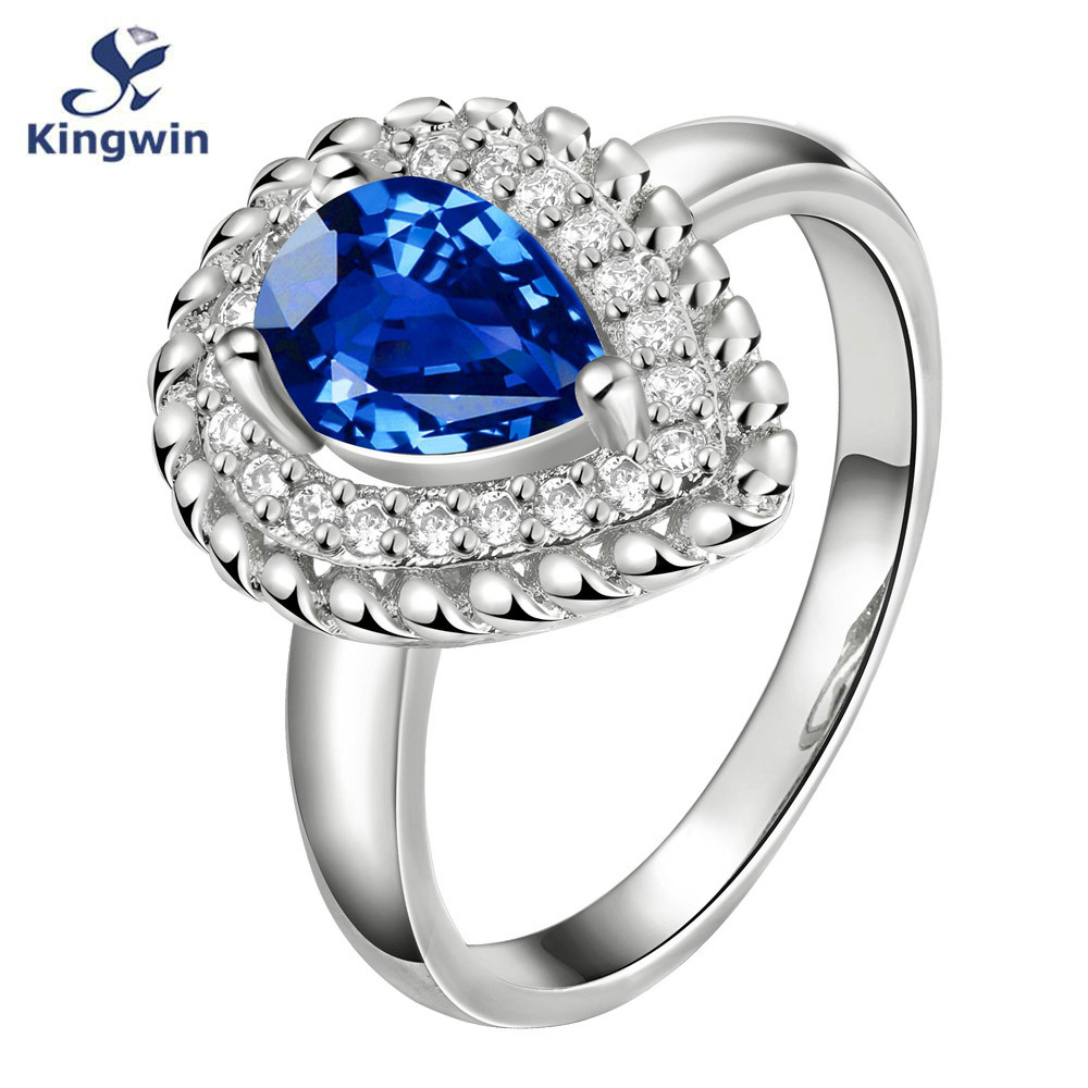 famous brand paris designer ring raindrop shape stone jewelry blue colorluxury silver engagement rings for