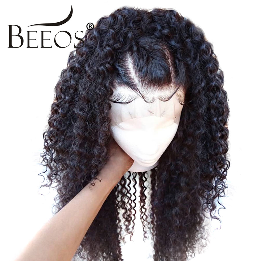 BEEOS Deep Parting Curly Human Hair 13 6 Lace Front Wigs Black Women With Baby Hair