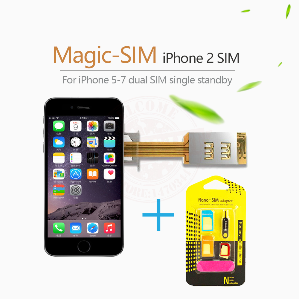 magic sim dual 2 sim card adapter slot single standby signal boosters for iphone 5 5s 5c 6. Black Bedroom Furniture Sets. Home Design Ideas
