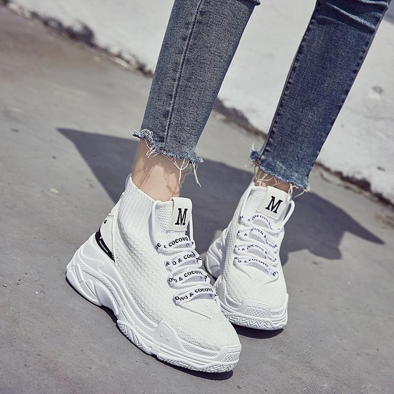 Sneakers 44 Hommes Noir 5 Chaussures Blanc lac Bleu Épaisse Dames Vamp Noir Femmes Top Cm Respirant Papa Tricot High 35 Semelle Chaussette ynOv0w8mNP