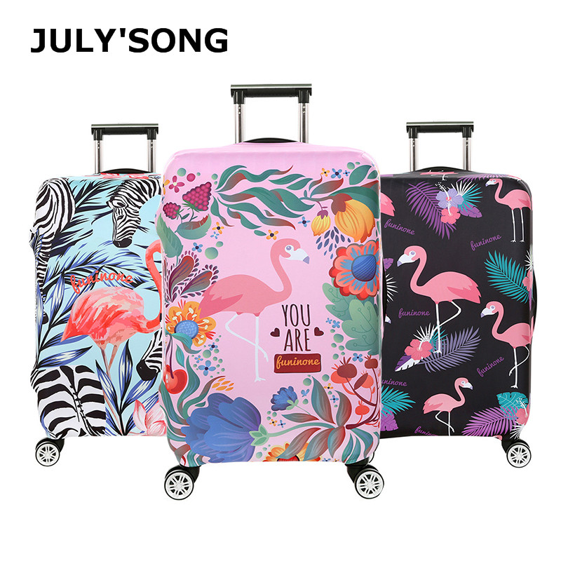 JULY'S SONG Flamingo Case Cover Travel Luggage Protective Cover Dust Luggage Case For 18-32inch Suitcase Box Travel Accessories