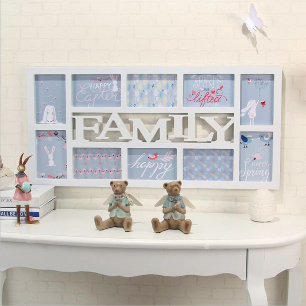 yazi white family plastic wall hanging collage picture photo frame 10 picture display home decor