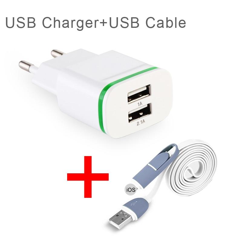 EU Plug Wall Adapter USB 2-Ports LED Light Chargers