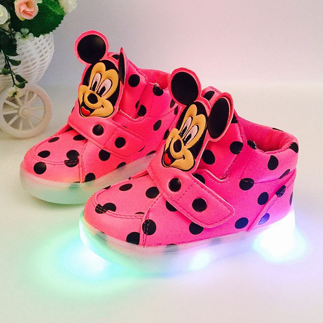 Children's shoes Baby Boys Girls Casual Shoes LED Flash Lighted Lovely Mickey Boots Sneakers Shoes Spring Autumn KD1-3Y