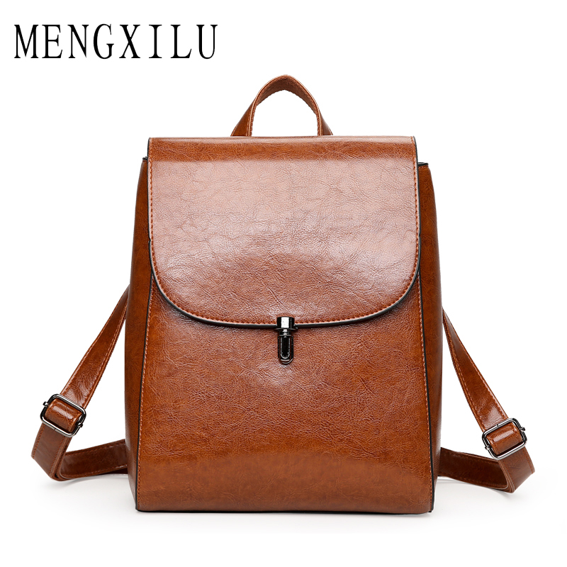 MENGXILU Brand Solid High Quality PU Leather Backpack Women Designer School Bags For Teenagers Girls Luxury Lock Women Backpacks