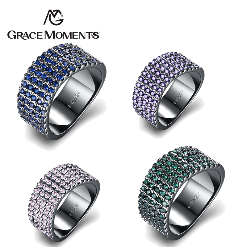 GRACE MOMENTS Four Colors Women Men Fashion 5 Rows Clear Crystal Ring Lovers Stainless Steel Wide Wedding Engagement Rings Size