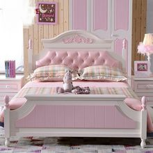 Children Beds kids Furniture pine solid wood kids beds child bed chambre bebe wholesale good price European pink girls beds hot(China)