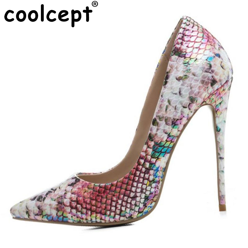 Coolcept Size 33-43 Sexy Lady High Heel Shoes Women Mixed Color Pointed Toe Patent Leather Thin Heel Pumps Club Women Footwears kemekiss size 32 48 women point toe shoes high heels women pumps tassels thin heel shoes women sexy party club women footwears