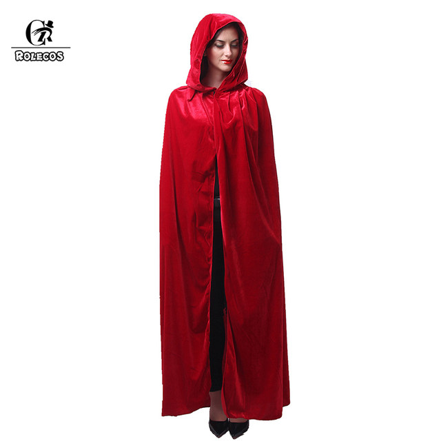 rolecos adult witch long purple green red black halloween cloaks hood and capes halloween costumes for women men