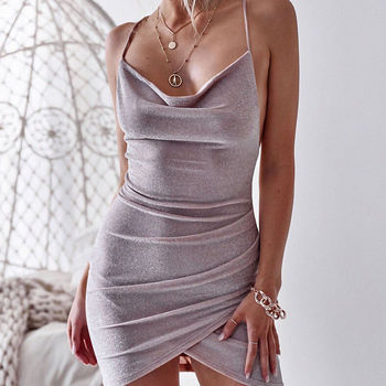 New Women Sequined Bodycon Sparkly Backless Bandage Sleeveless Evening Party Club Mini Dress Sundress 5