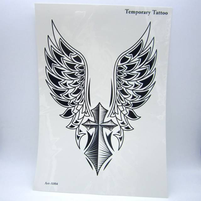 Online Shop 1pcs Big Cool Mens Cross Wing Tattoosbeautiful Arm Back