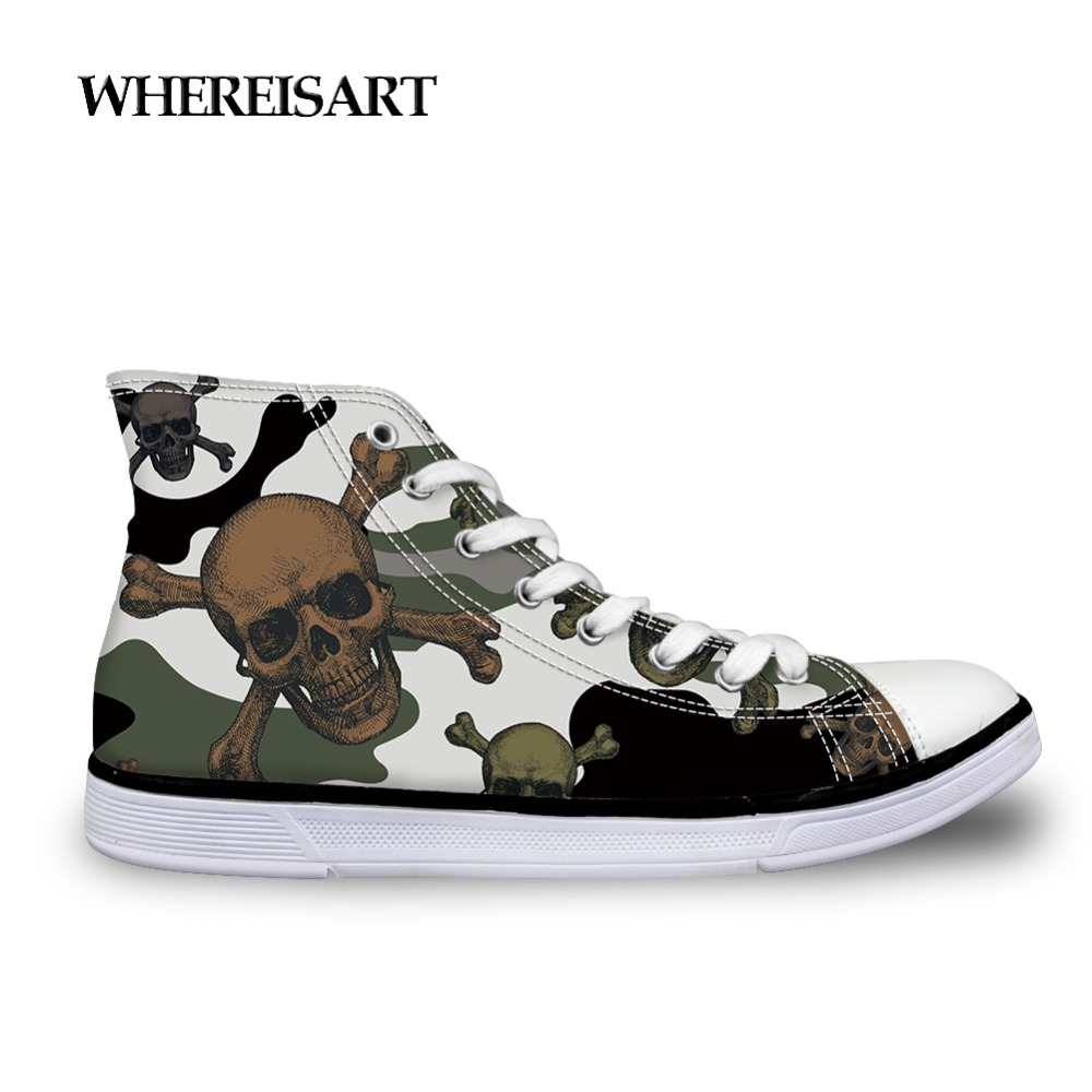 WHEREISART Mens Designer Sneakers Camouflage Shoes Flats Men Vulcanize Shoes Skull Hip Hop Style High Top Canvas Shoes 2019
