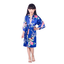 New Kid Kimono Jubah Sutra Jubah bunga Bridesmaid Flower Girl Dress Anak Mandi Pakaian Tidur Bayi Pakaian Dressing Gown 2-14(China)