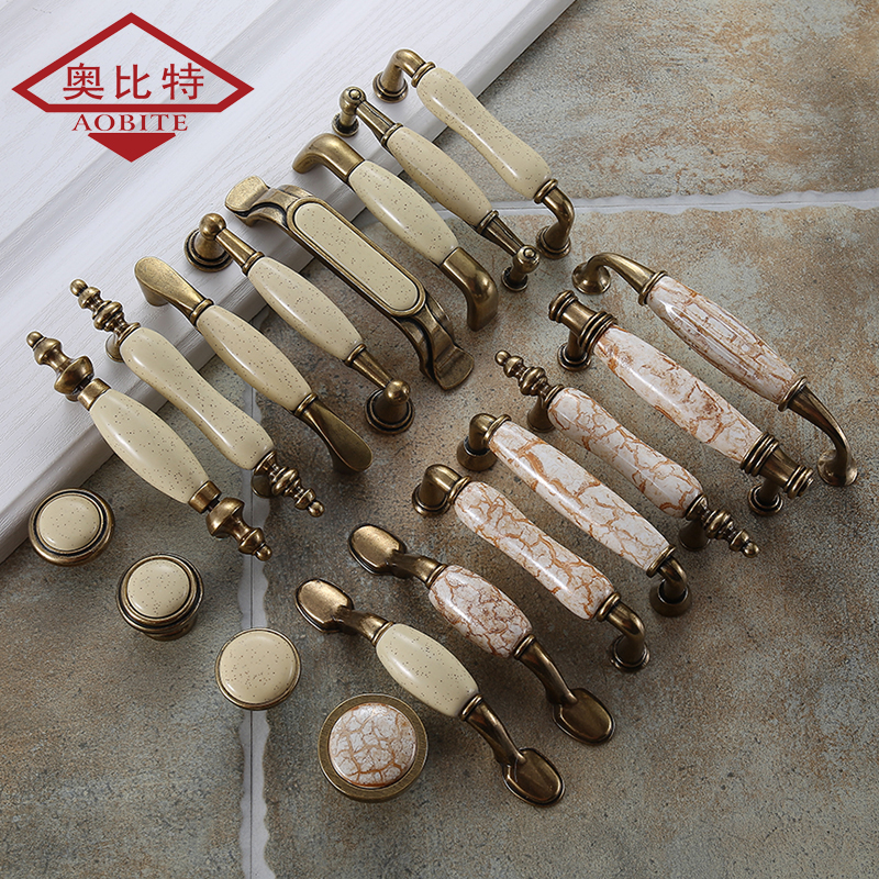 AOBT Ceramic Handle Cabinet Door Knobs European Wardrobe Cabinet Wholesale Fashion Furniture Modern Minimalist Chinese Drawer