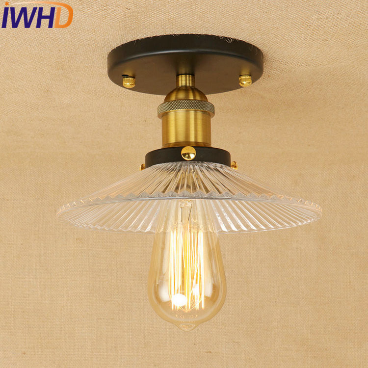 IWHD Retro Loft Style Edison Industrial Ceiling Lamp Antique Iron Glass Vintage Ceiling Light Fixtures Home Lighting Luminaria retro loft style mirror glass iron vintage ceiling light fixtures edison industrial ceiling lamp antique lights home lighting