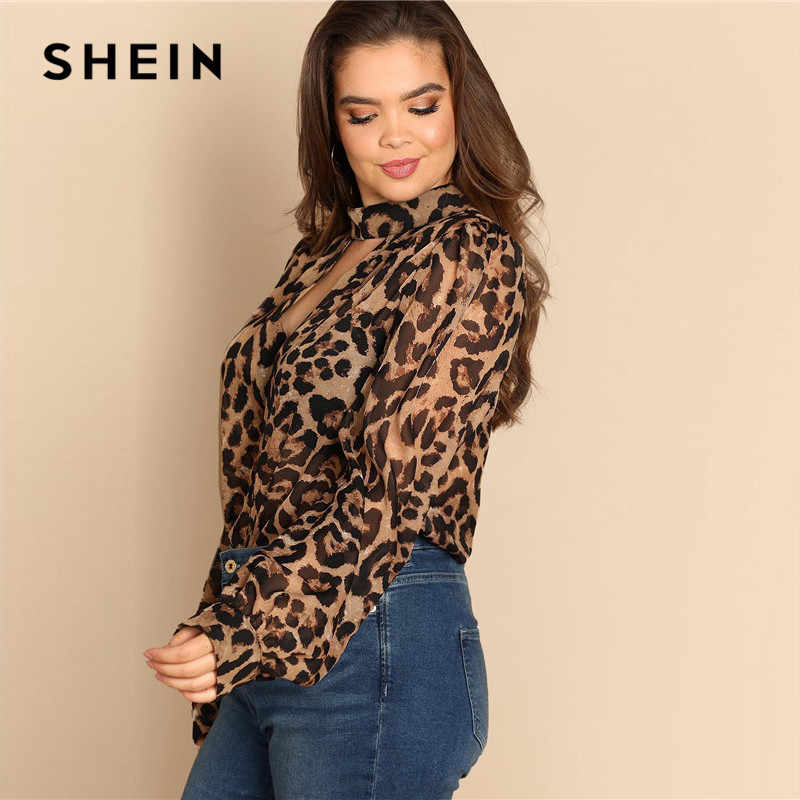 077629e011 ... SHEIN Plus Size Cut Out V Neck Sexy Semi Sheer Leopard Print Blouses  Women 2019 Spring ...