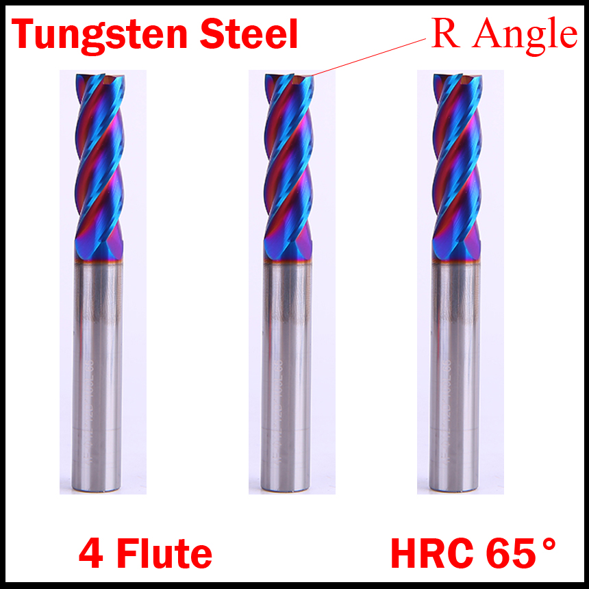 10mm 12mm Cutting Edge Diamter R1 R0.5 HRC65 4 Flute Solid Carbide CNC Router Tool R Corner Rounding End Mill Milling Cutter 1pcs high quality hss carbide end mill cnc tool diameter 12mm 4 blades flute mill cutter straight shank solid carbidet drill bit