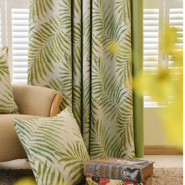green curtains for living room. Tropical Plam Fern Leaf Green Blackout Curtains for Living Room Bedroom  Window Door Kitchen Home
