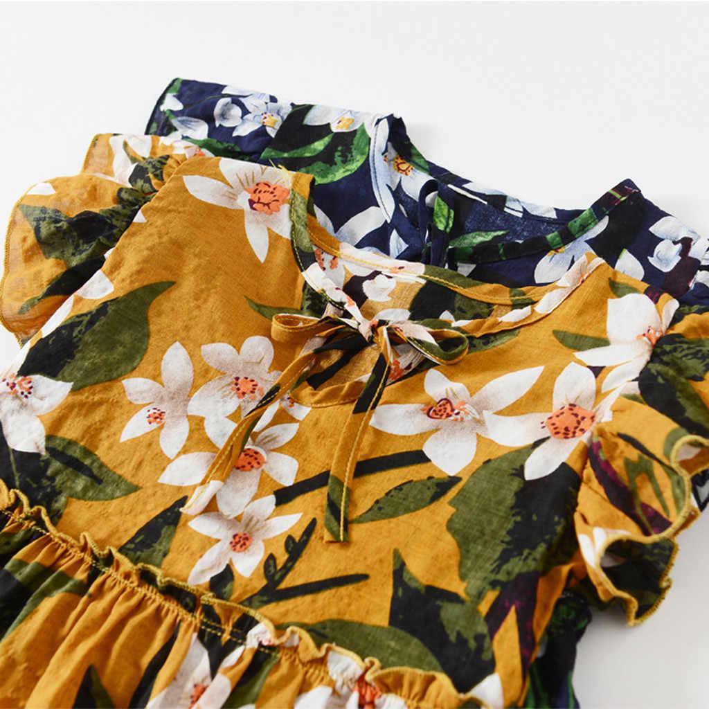 MUQGEW Da Criança Do Bebê Vestido de Roupa Dos Miúdos Meninas Voar Manga Fitas Ruched Vestido Floral Para A Menina Da Praia do Verão Vestidos de Festa Da Princesa