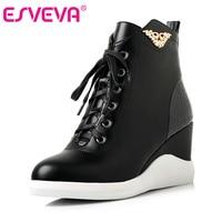 ESVEVA 2016 Sequined Platform Women Boots Autumn Fashion Boots Wedges High Heel Leisure Round Toe Ladies