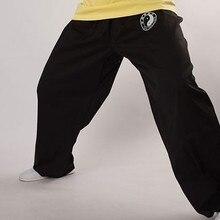 Высокое качество унисекс хлопок Тай Чи тайцзи брюки кунг-фу Боевые искусства брюки тайчи ушу шаровары черный