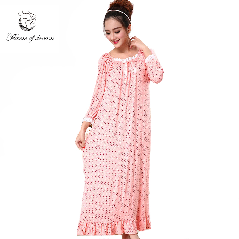 Long night gown modal material bust 100-120cm Nuisette Dentelle Vintage Long Nightgown 977