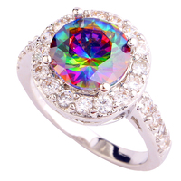 Onlylove 2016 WholesaleDelicate Colorful Rainbow Toapz  Silver Ring Size 6 7 8 9 Fashion Jewelry For Women Free Shipping
