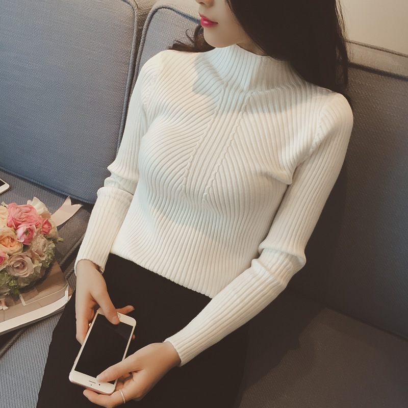 Hiking T-shirts 2018 Women Sweater Pullover Autumn Winter Sexy Slim Long Pullovers Thick Warm Female O-neck Pullover Long Sleeved Knittwear
