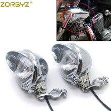 ZORBYZ мотоциклетный хромированный противотуманный светильник с поворотной клеткой для мотоцикла, кронштейн для крепления трубки, зажим для Honda Yamaha