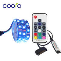RGB LED Strip Light Full Kit for PC Computer Case, SATA power supply interface, Fixed by Adhesive Tape, Remote Control Color