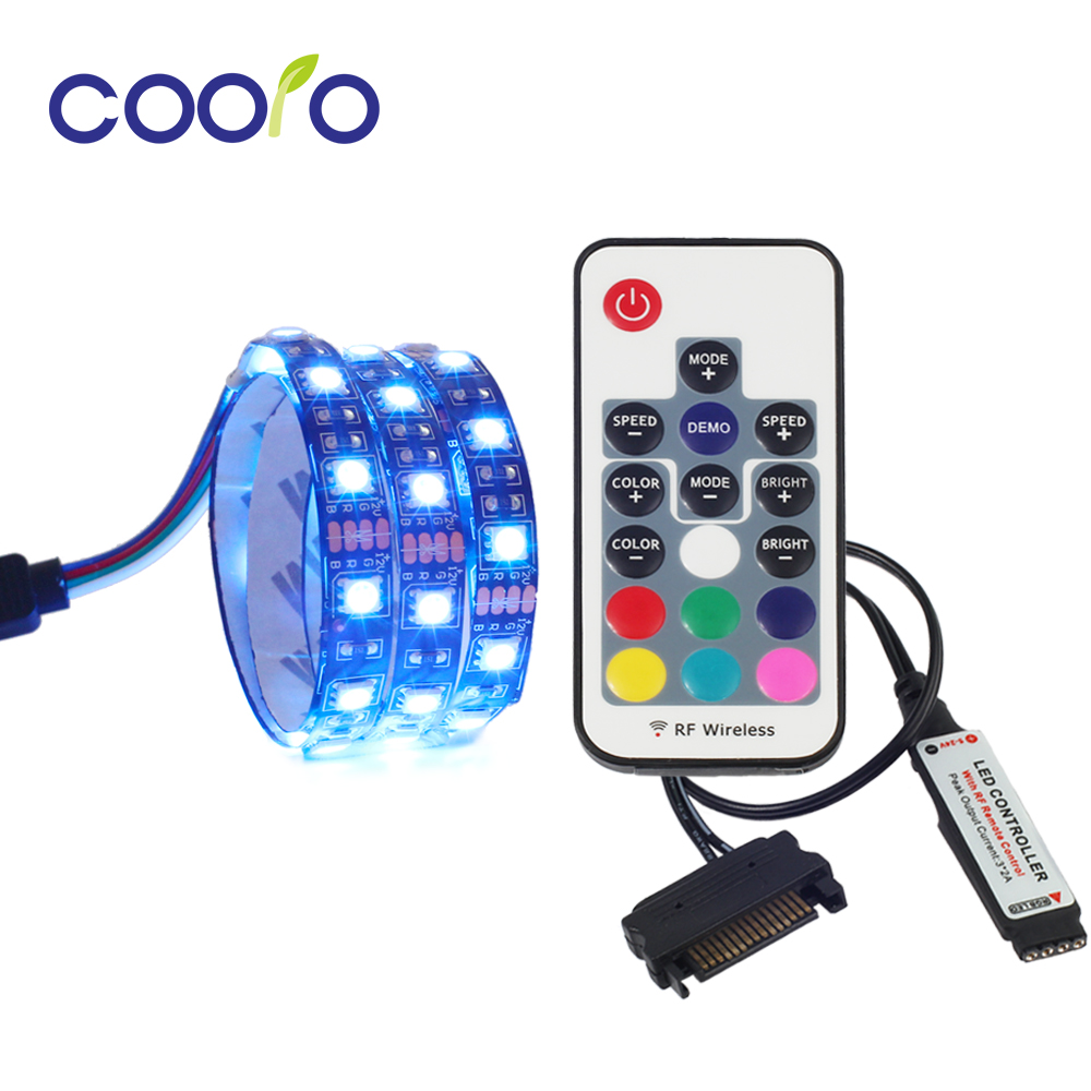 Rgb Led Strip.Us 4 99 30 Off Rgb Led Strip Light Full Kit For Pc Computer Case Sata Power Supply Interface Fixed By Adhesive Tape Remote Control Color In Led