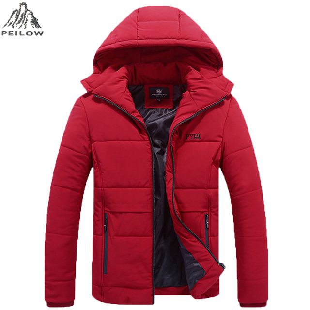 Special Price PEILOW NEW Plus Size L-6XL,7XL,8XL Winter Jacket Men Hat Detachable Warm Coat Cotton-Padded Outwear Mens Coats Jackets Hooded