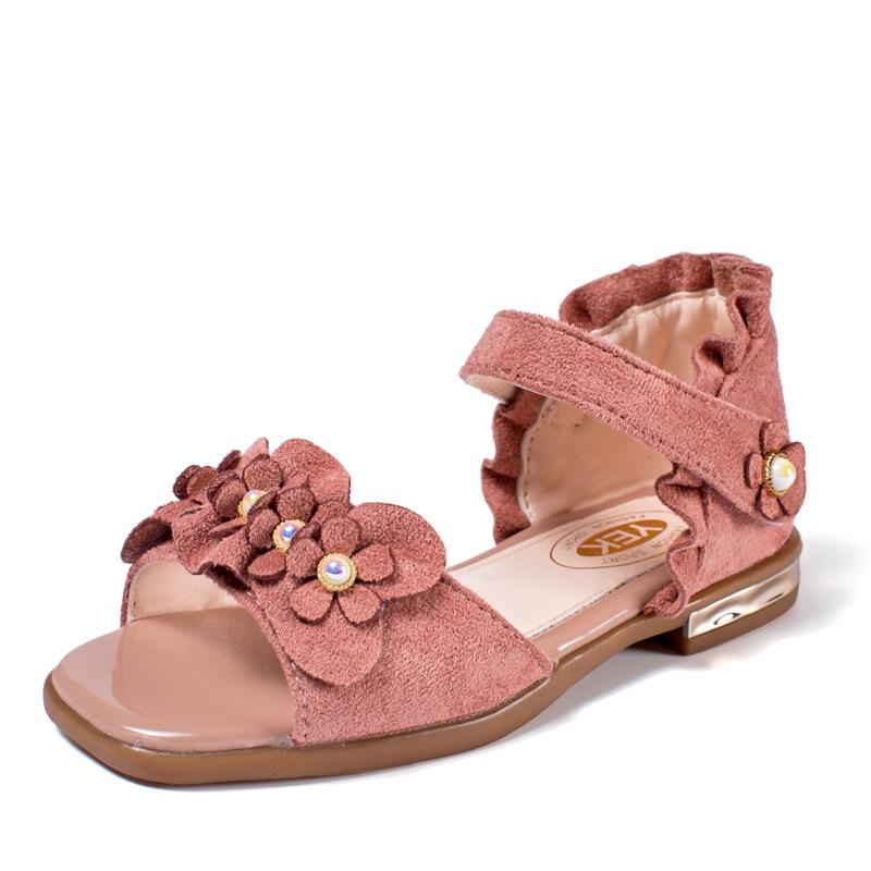 COZULMA Kids Beach Sandals Girls Summer Shoes Kids Flower Sandals Children Peep Toe Flock Pearl Sandals Size 26-36